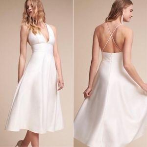 BHLDN White A Line Satin Shelby Halter Dress